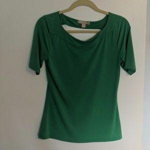 Elbow sleeve keyhole back blouse